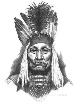 Indian Wall Art - Drawing - Chief Curly Bear by Lee Updike