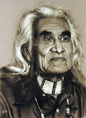 Drawing - Chief Dan George - Tes-wah-no by Rick Fitzsimons