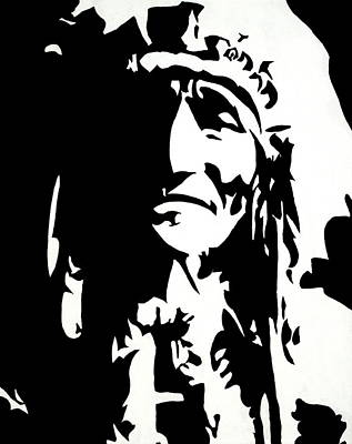 Chief Half In Darkness Art Print by HJHunt