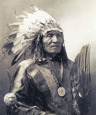 Photograph - Chief He Dog Of The Sioux Nation  C. 1900 by Daniel Hagerman