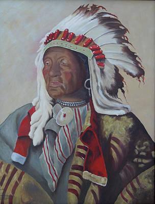 Iron-knee Painting - Chief Iron Tail by Kathy Przepadlo