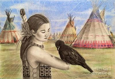 Crow Drawing - Chief Little Crow's Teepee by Keiko Olds