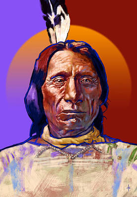 Chief Red Cloud Painting - Chief Red Cloud by Arie Van der Wijst