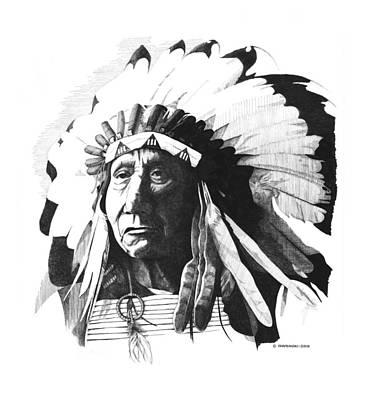 Wall Art - Drawing - Chief Red Cloud by Paul Shafranski