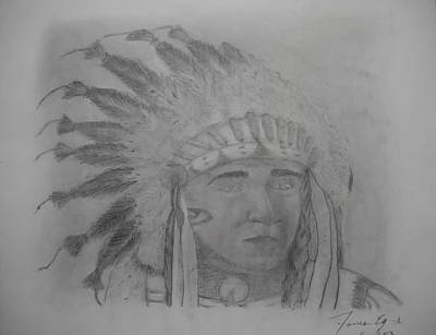 Art By James Eye Drawing - Chief Silver Eye by James Eye