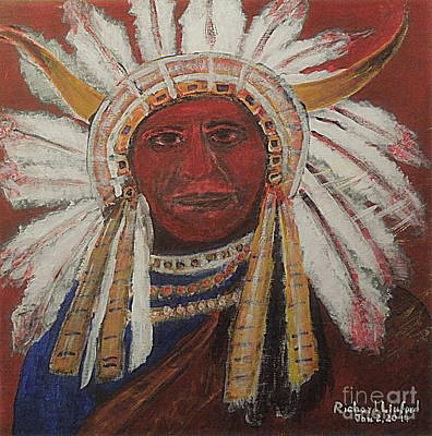 Painting - Chief Sitting Bull 1 Honoring The Chief by Richard W Linford