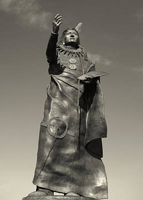 Photograph - Chief Standing Bear Statue In Black And White  by Ann Powell