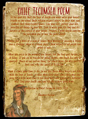 Buena Vista Mixed Media - Chief Tecumseh Poem - Live Your Life by Celestial Images