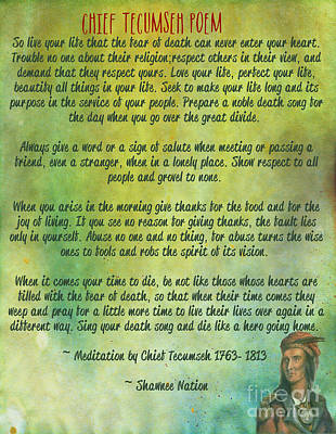 Buena Vista Digital Art - Chief Tecumseh Poem - Live Your Life by Celestial Images