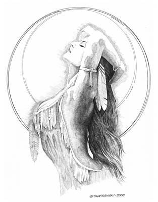 Wall Art - Drawing - Chief's Daughter by Paul Shafranski