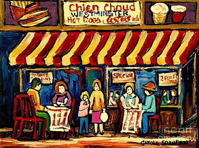 Montreal Winter Scenes Painting - Chien Chaud Hot Dog Westminster  Montreal City Scenes by Carole Spandau