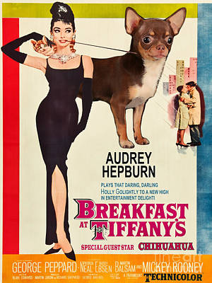 Nobility Dogs Painting - Chihuahua Art - Breakfast At Tiffany Movie Poster by Sandra Sij