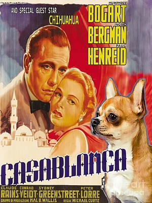 Casablanca Painting - Chihuahua Art - Casablanca Movie Poster by Sandra Sij