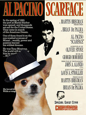 Chihuahua Art Painting - Chihuahua Art - Scarface Movie Poster by Sandra Sij