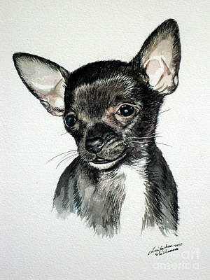 Painting - Chihuahua Black 2 by Christopher Shellhammer