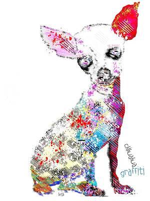 Dog Painting - Chihuahua Graffiti by Bri B