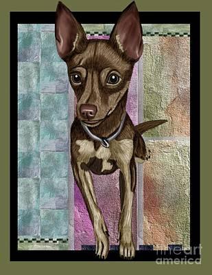 Cute Dog Digital Art - Chihuahua by Karen Sheltrown