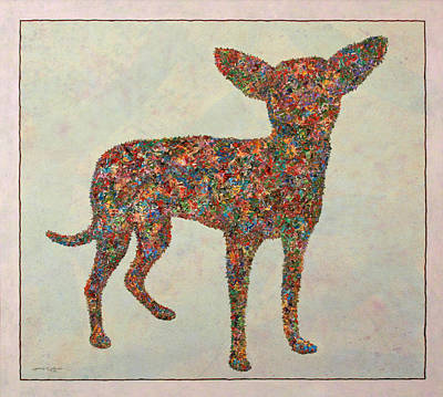 Colorful Dog Wall Art - Painting - Chihuahua-shape by James W Johnson