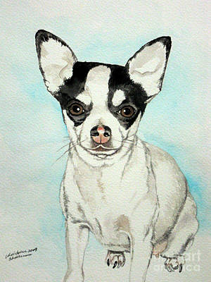 Painting - Chihuahua White With Black Spots by Christopher Shellhammer