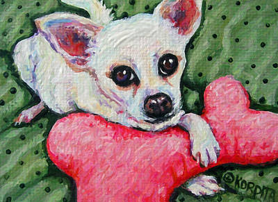 Chiwawa Portrait Wall Art - Painting - Chihuahua Who Came To Visit by Rebecca Korpita