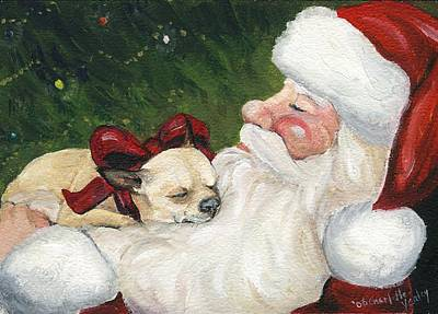 Chihuahua's Cozy Christmas Art Print by Charlotte Yealey