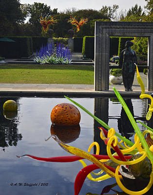 Photograph - Chihuly Art From The Infinity Pond by Allen Sheffield