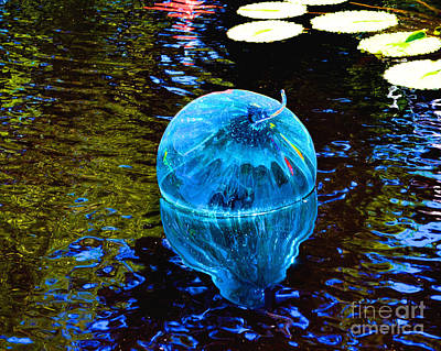Photograph - Artsy Blue Glass Float by Luther Fine Art