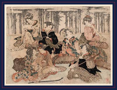 Bamboo Fence Drawing - Chikurin No Kabe No Mae No Shichikenjin by Shunman, Kubo (1757-1820), Japanese