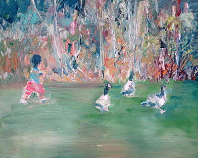 Geese Painting - Child And Geese by Fabrizio Cassetta