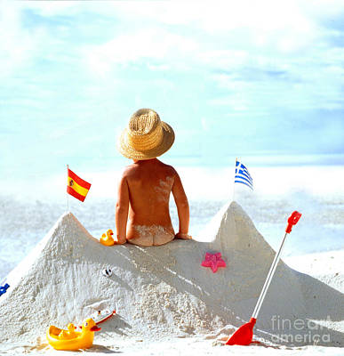Child At The Beach Art Print by Manfred Uselmann