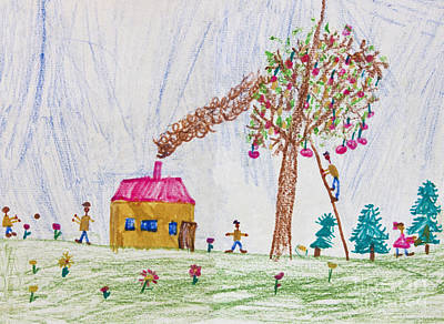 Crayons Tree Drawing - Child Drawing Of A Happy Family by Kiril Stanchev