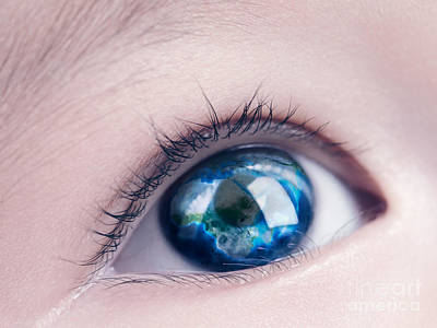 World Peace Photograph - Child Eye With World Map Reflecting In It by Oleksiy Maksymenko
