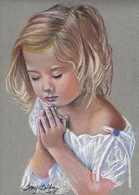 Child In Prayer Art Print by Tonya Butcher