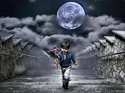 Nighttime Street Photography - Child Of The Moon by Joachim G Pinkawa