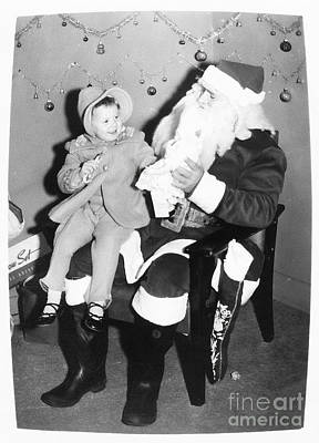 1950s Fashion Digital Art - Child On Santas Lap 1950s Retro by Vizual Studio