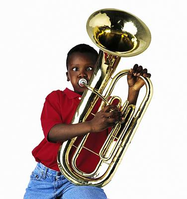 Child Playing Baritone Print by Ron Nickel