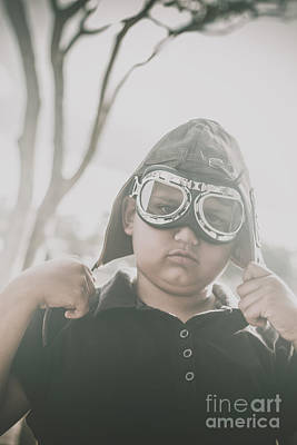 Child Playing With Airplane Aviator Hat Art Print by Jorgo Photography - Wall Art Gallery