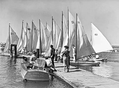Photograph - Child Skippers In La Regatta by Underwood Archives