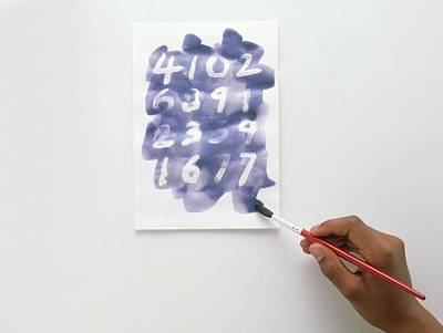 Child Using Paintbrush And Blue Ink Art Print
