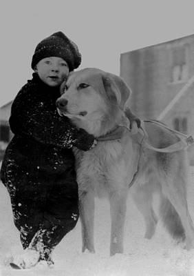 Child With Dog Alaska Art Print