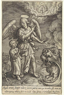 Guardian Drawing - Child With Guardian Angel, Hieronymus Wierix by Hieronymus Wierix