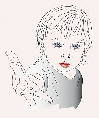 Child With Outstretched Hand Art Print