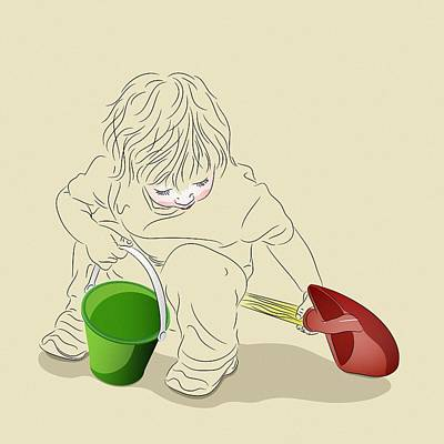 Digital Art - Child With Sand Toys by MM Anderson