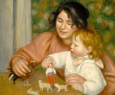 The Hen Painting - Child With Toys Gabrielle And The Artist S Son Jean by Pierre Auguste Renoir
