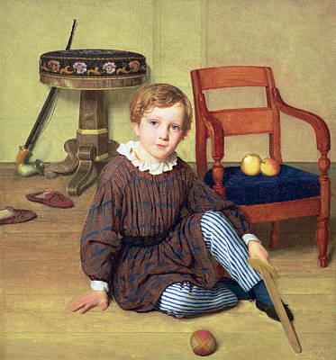 Furniture Painting - Childhood by Ludvig August Smith