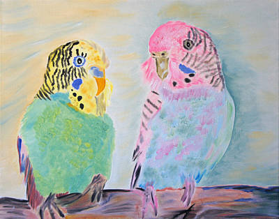 Childhood Parakeets Art Print