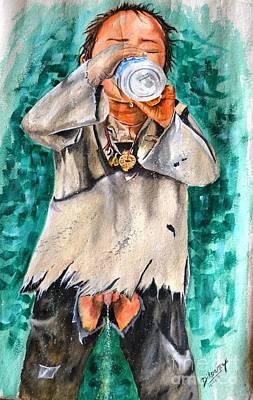 Boy Peeing Painting - Childhood by Sherab Dikparaza