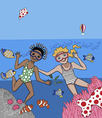 Antilles Painting - Children 3 by Trudie Canwood