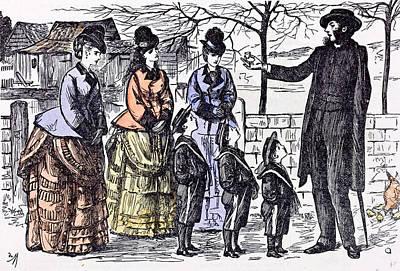 Children And A Broken Egg-shell 1874 Ladies Man Walk Street Art Print by English School