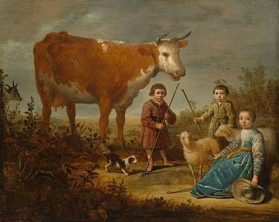 Holy Cow Painting - Children And A Cow by Aelbert Cuyp